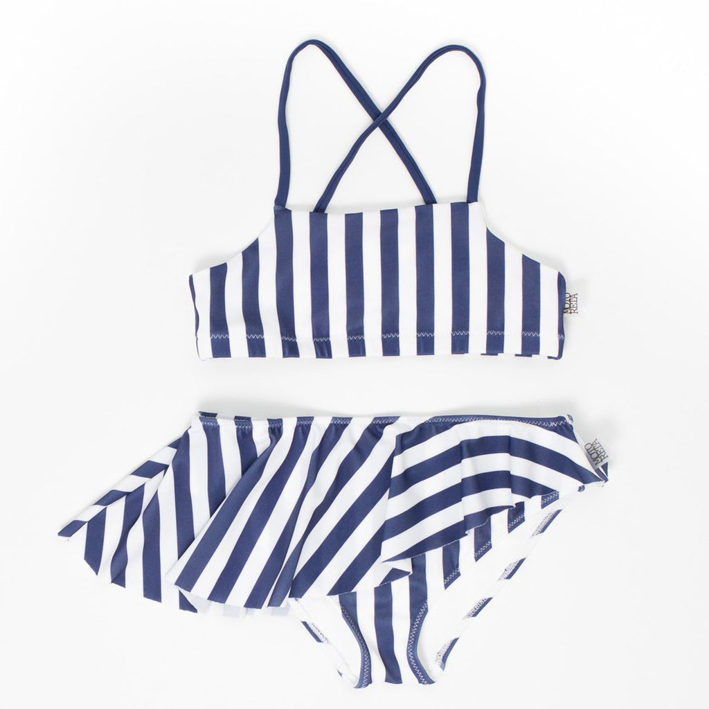 Girls bikini in blue and white stripes  with a criss-cross top and a ruffled bottom by Motoreta