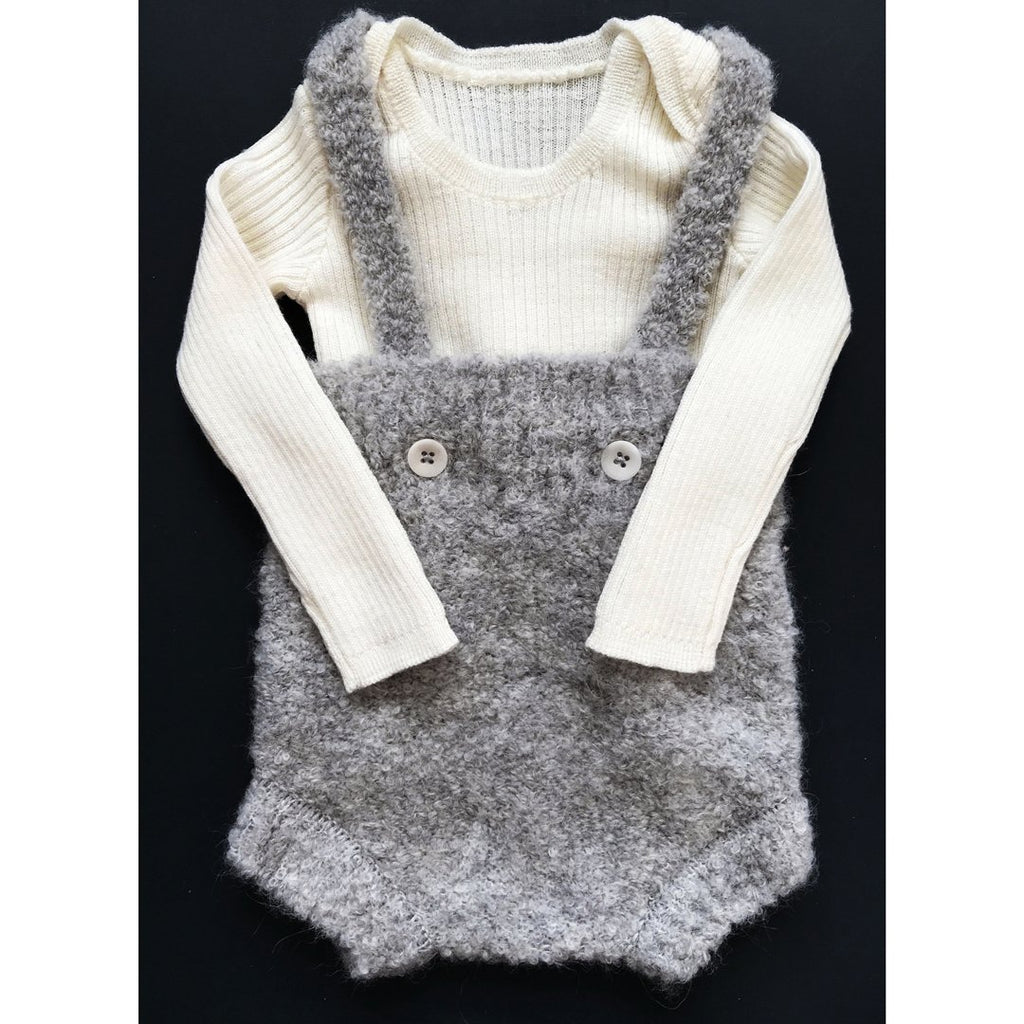 Unisex baby one-piece in baby alpaca and merino wool in warm grey by Mabli