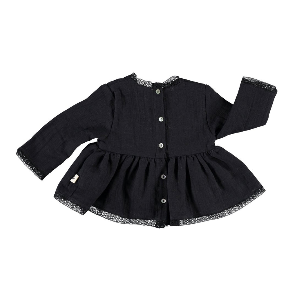 Long-sleeve lace baby girl black blouse by Piupiuchick