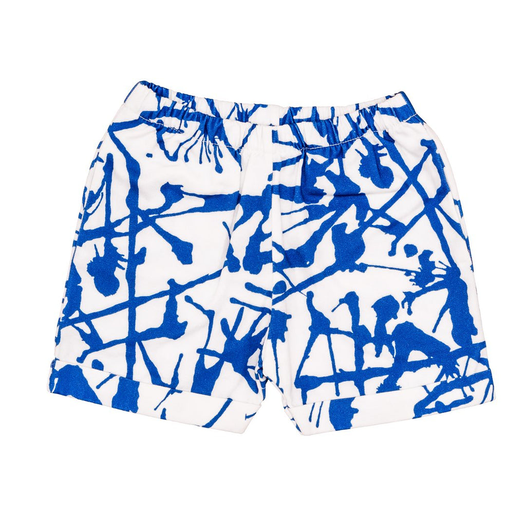 Shorts with blue ink prints all over