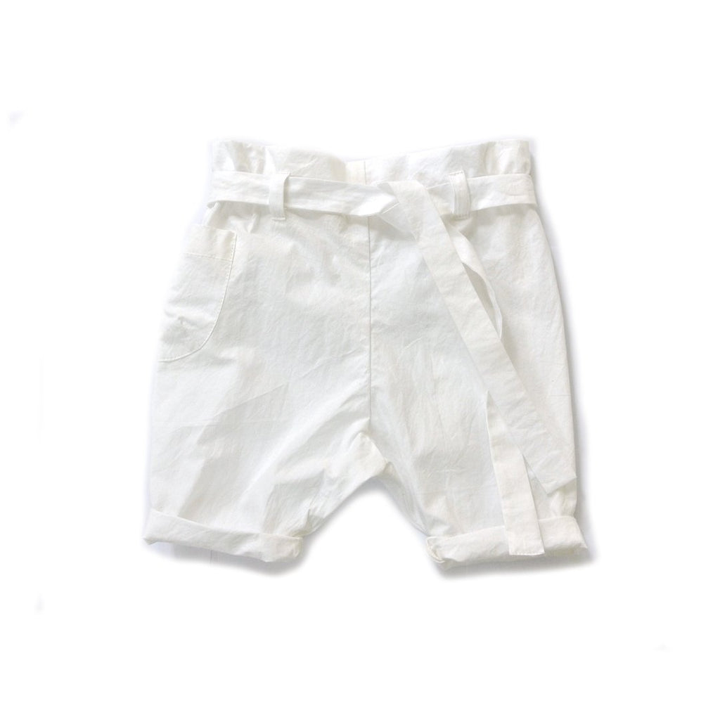 Boys summer white paper bag shorts in soft cotton and a belt by Treehouse