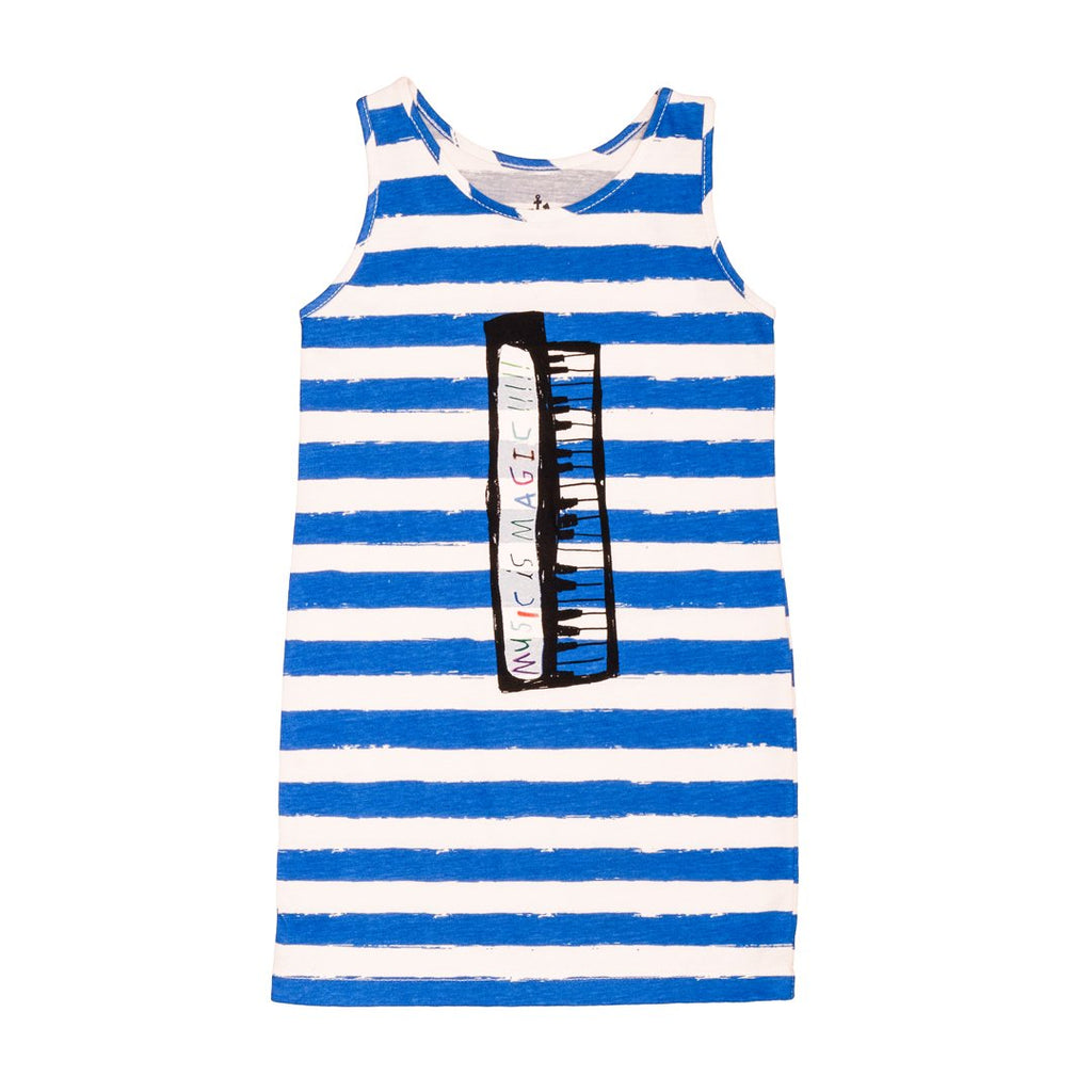Tank dress  with blue and white horizontal stripes and a digital piano print on the front