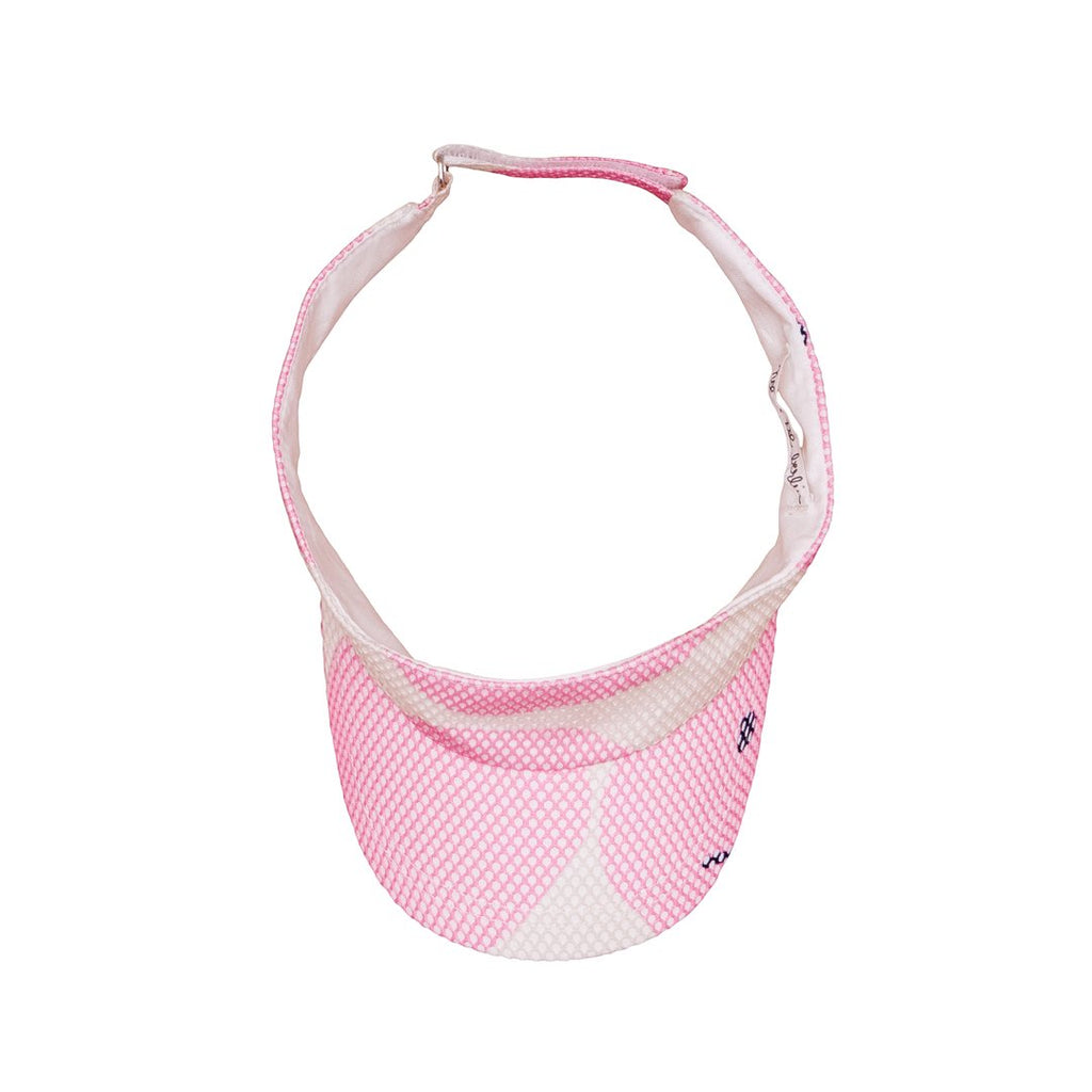 Visor with large pink dots and smileys all over for kids