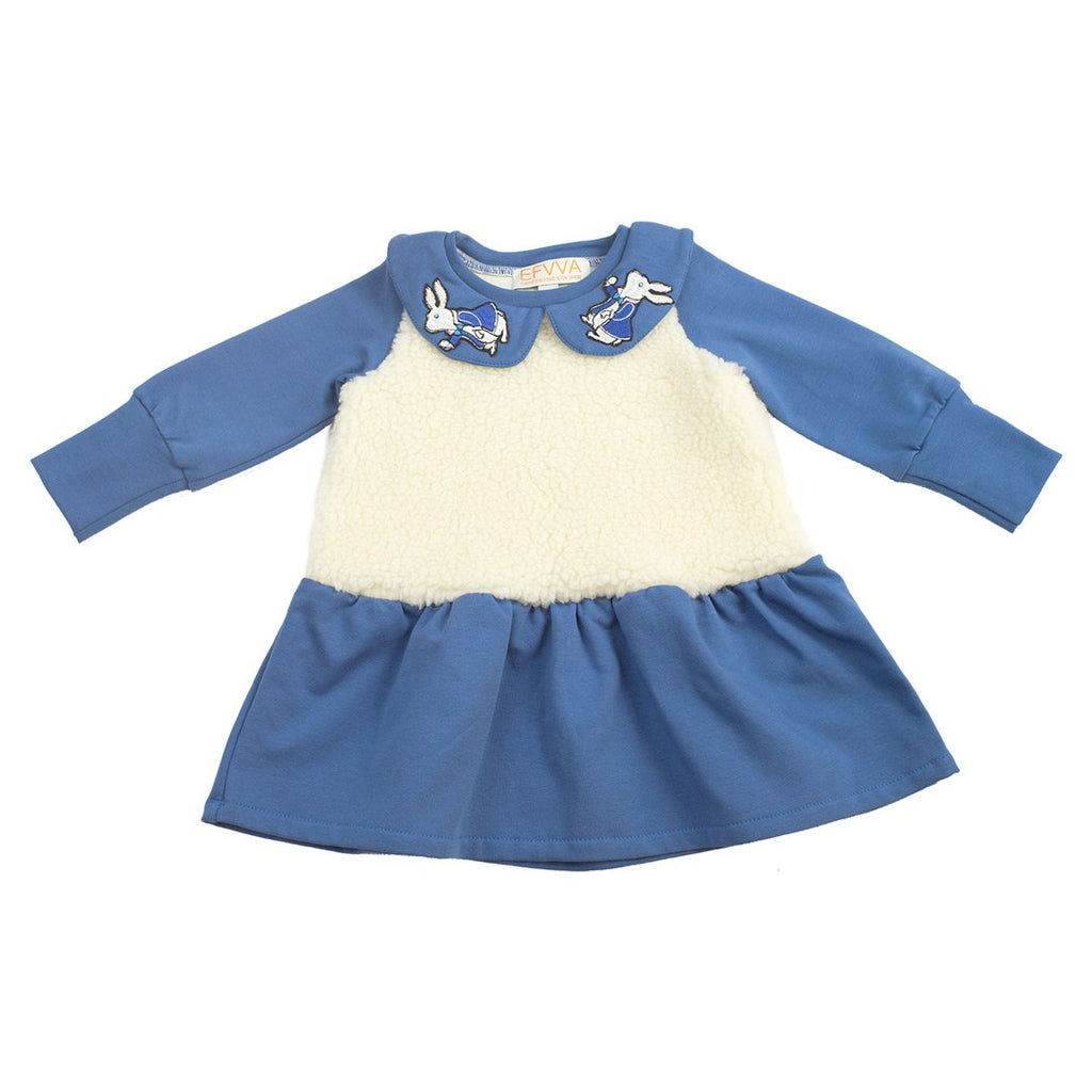 Soft Alice dress in blue cotton jersey with faux fur on the front is just the right balance between girly and edgy.