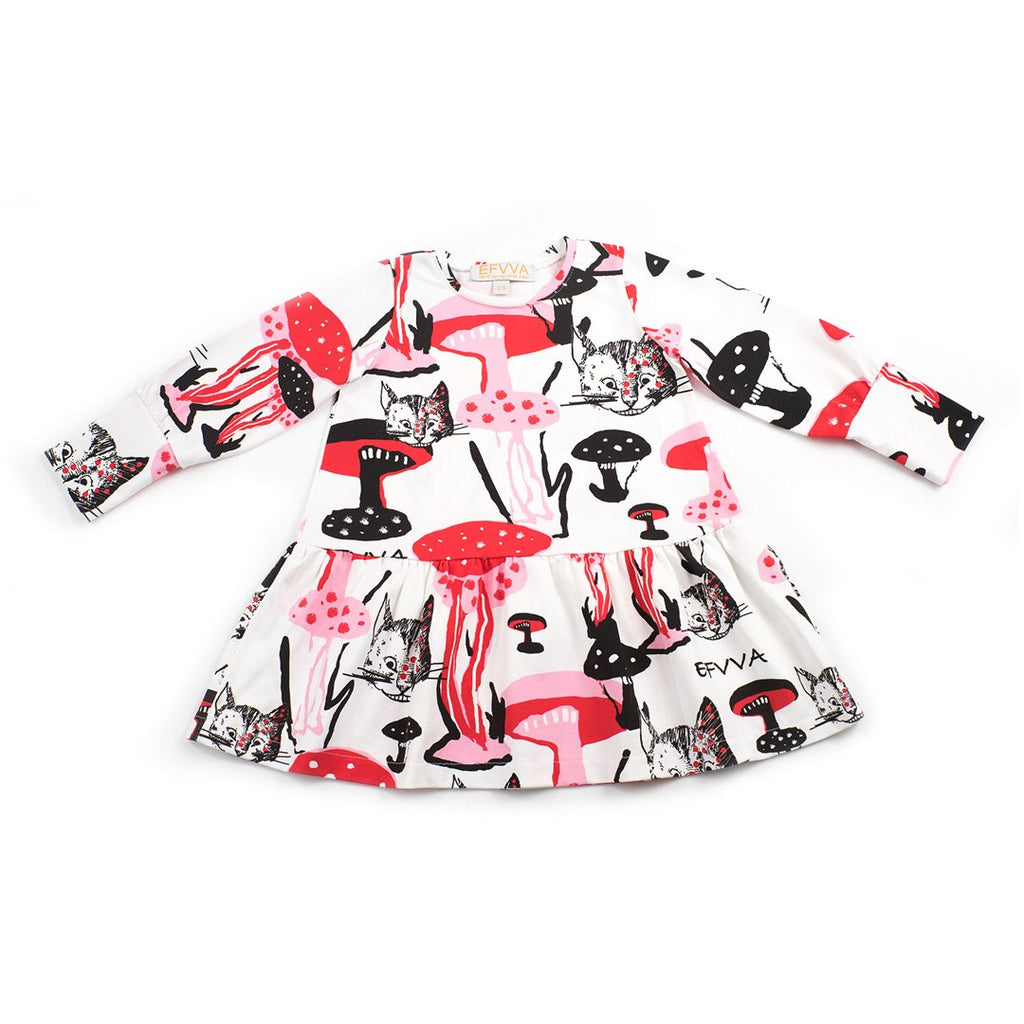 100% organic cotton long-sleeve dress with prints inspired by Alice's Cheshire cat and the mushroom