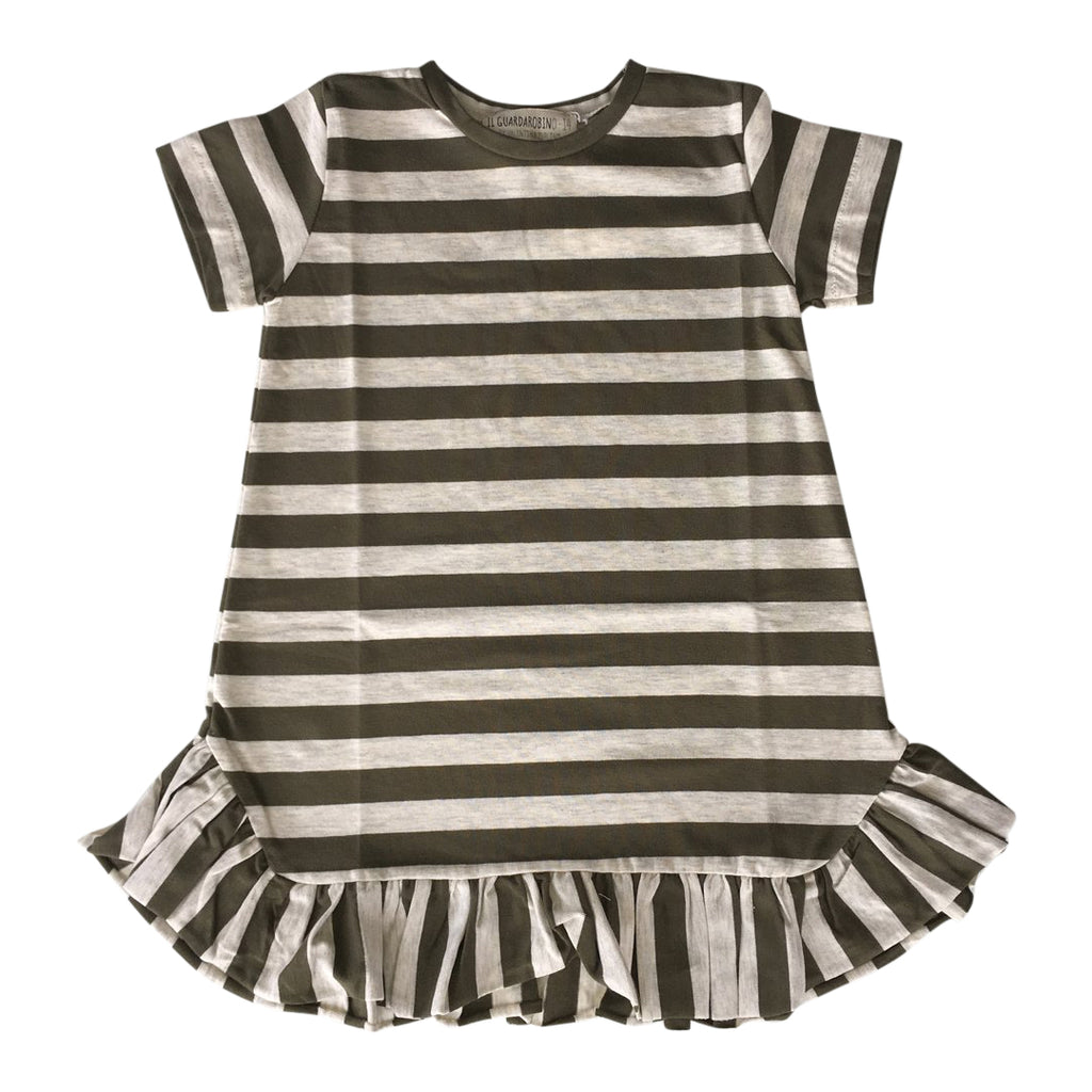 Midi sleeveless dress for toddlers in beige and army green stripes, with cute ruffles on the bottom by Il Guardarobino