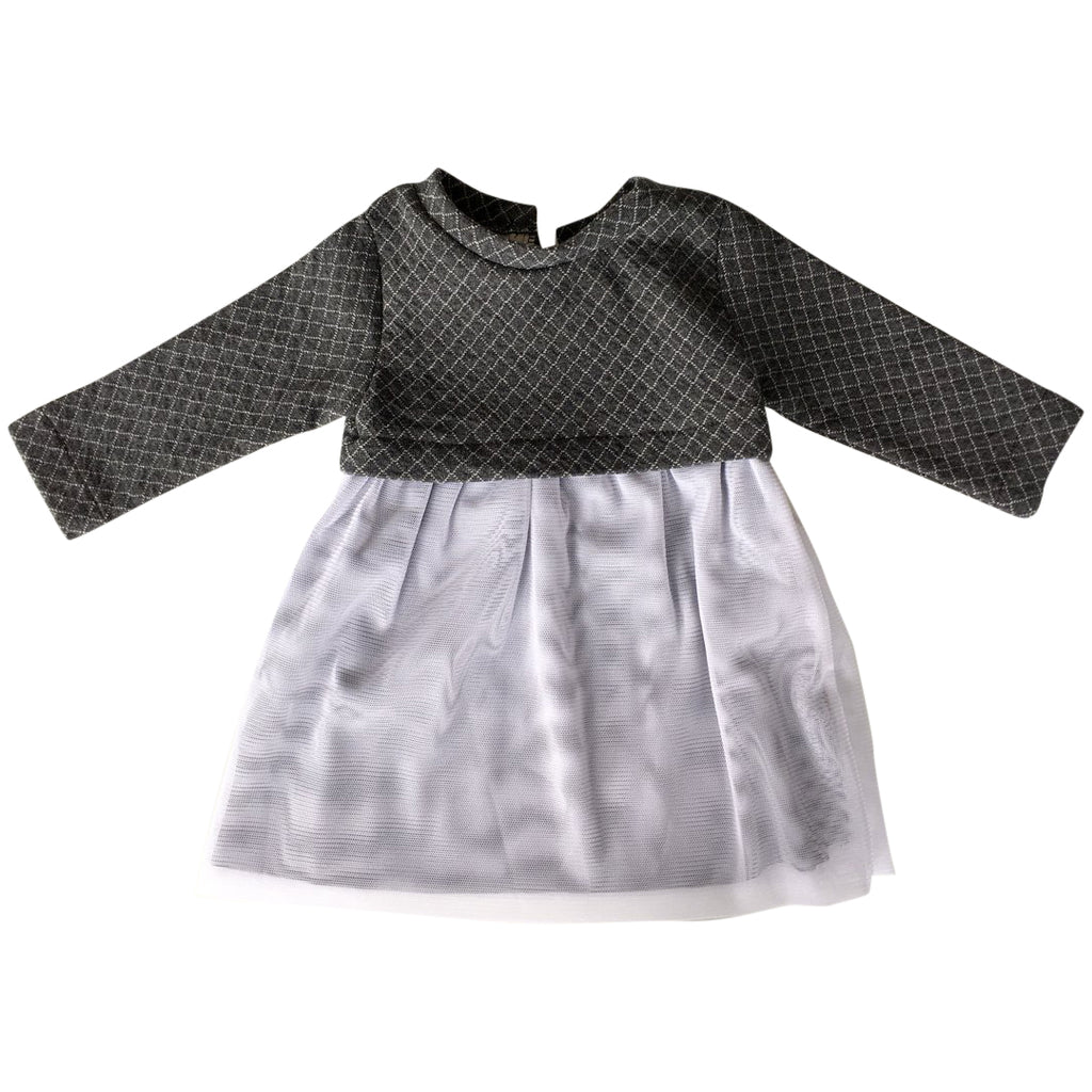 Baby and toddler dress with upper part in double jersey with a diamond pattern, and skirt in a dreamy white tulle by Il Guardarobino
