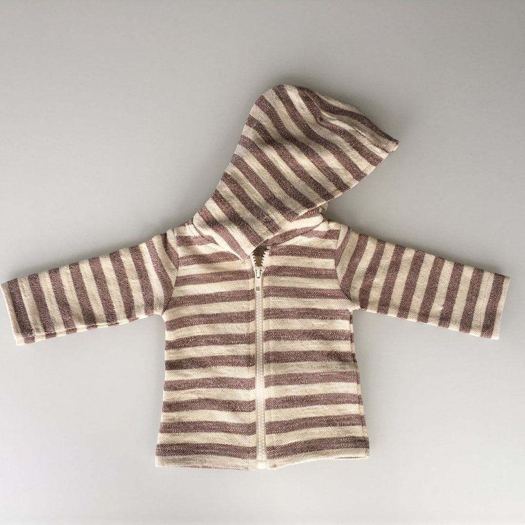 Zipped hoodie for babies in cocoa and beige stripes by Il Guardarobino