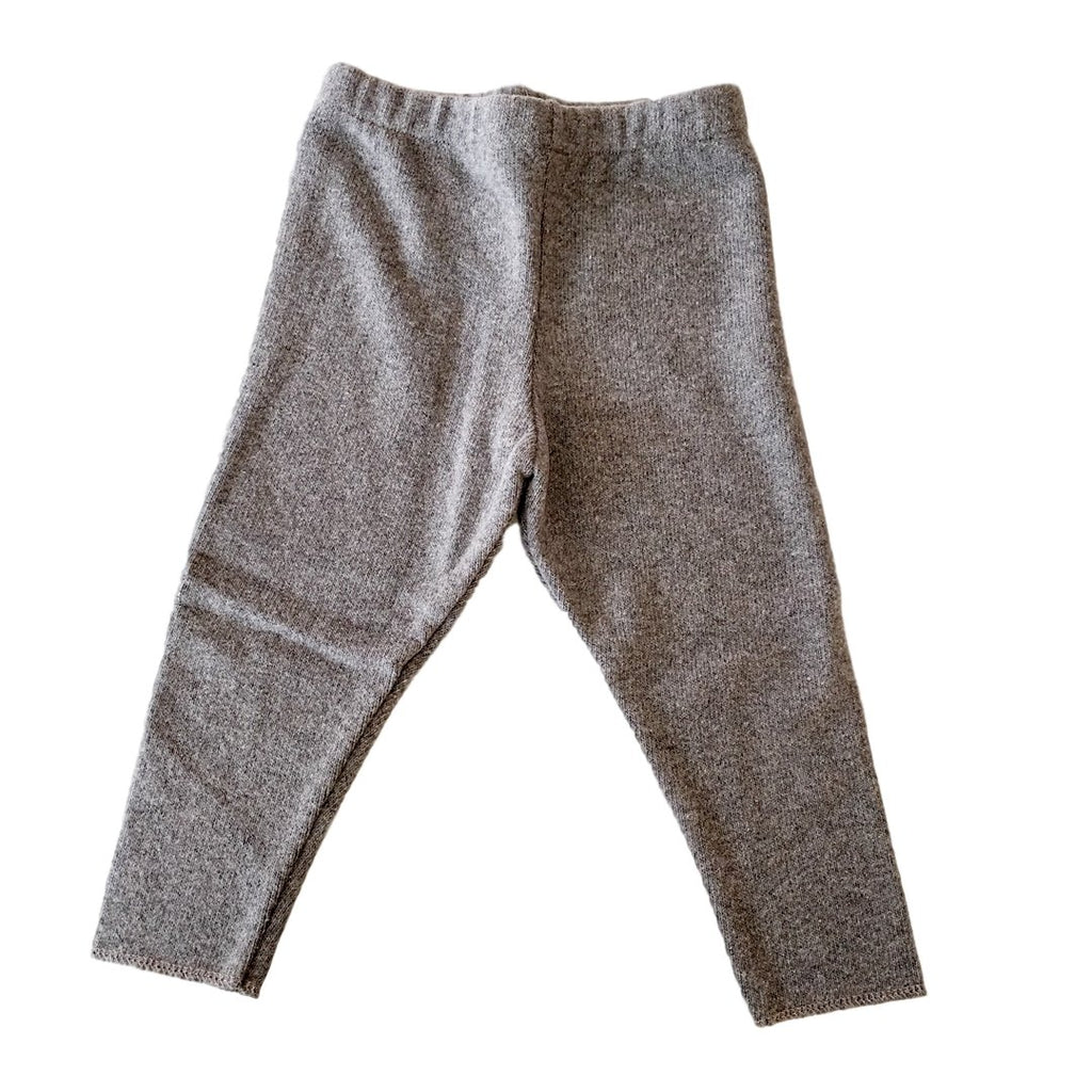 Warm, soft cotton knit leggings in light gray by Il Guardarobino