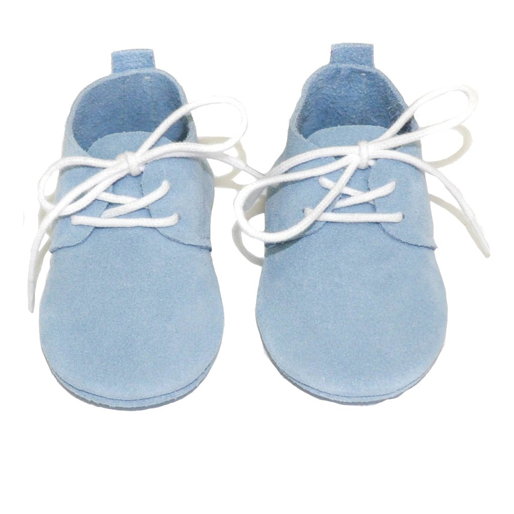 Blue suede baby boy shoes are ideal to create a mini-me look by Little Lambo