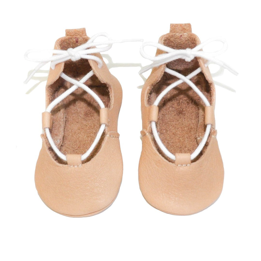 Cute and soft lace-up ballerinas is nude. From infant to toddler by Little Lambo