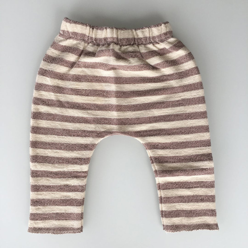 Unisex leggings in cocoa and beige stripes by Il Guardarobino