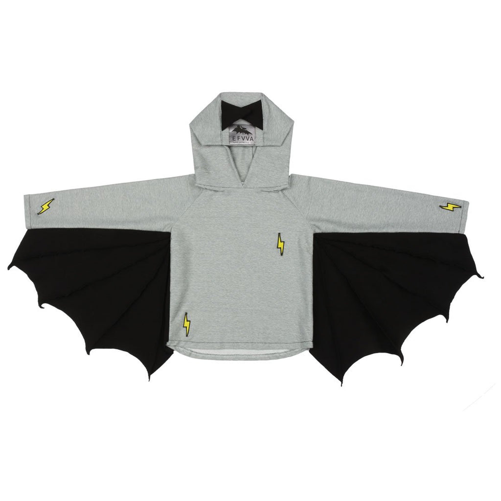 Bestseller Bat Hoodie is a big favorite among kids, who will love the black bat wings. Features embroidered comic details and made of certified stretchy grey cotton