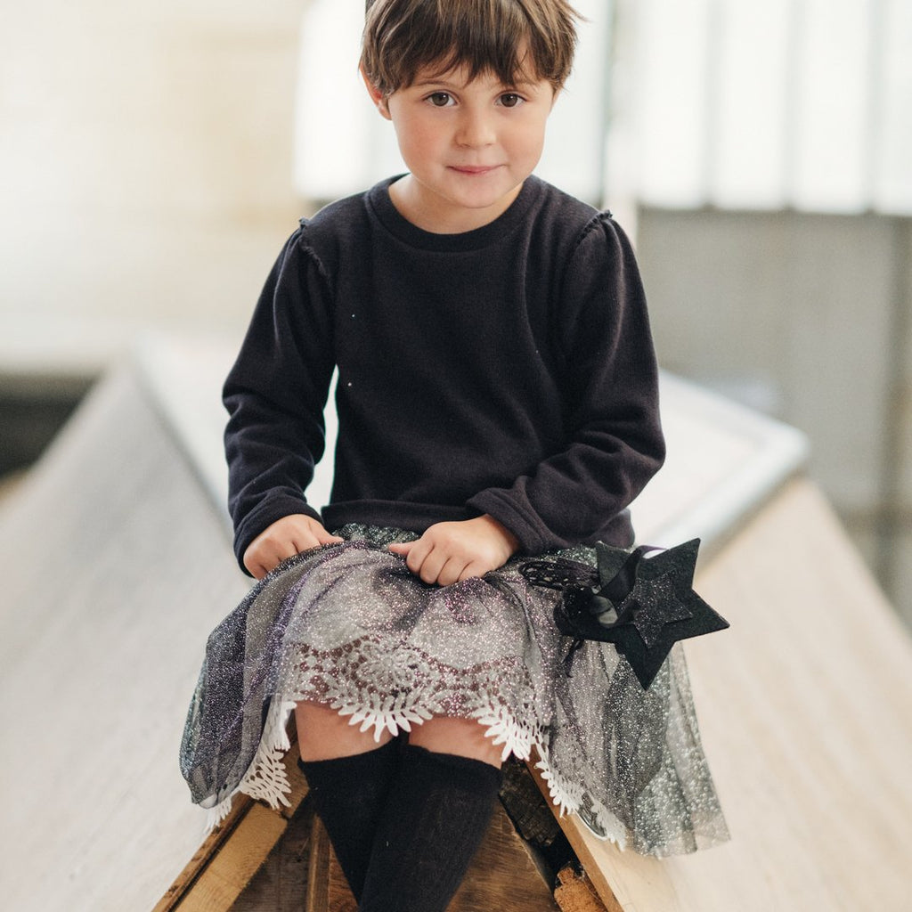 Black tulle dress in velve by Chichirikids