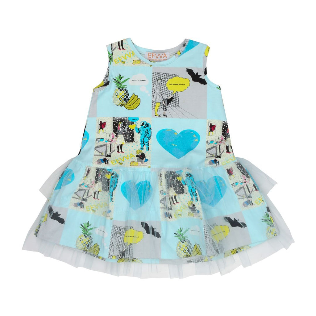 Pretty dress with comic prints all over is inspired by comic books with transaprent tulle