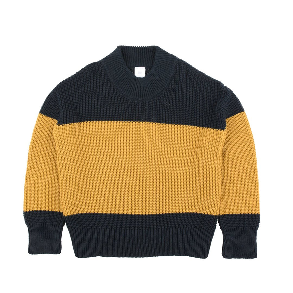Color Block Knit Sweater Navy Mustard