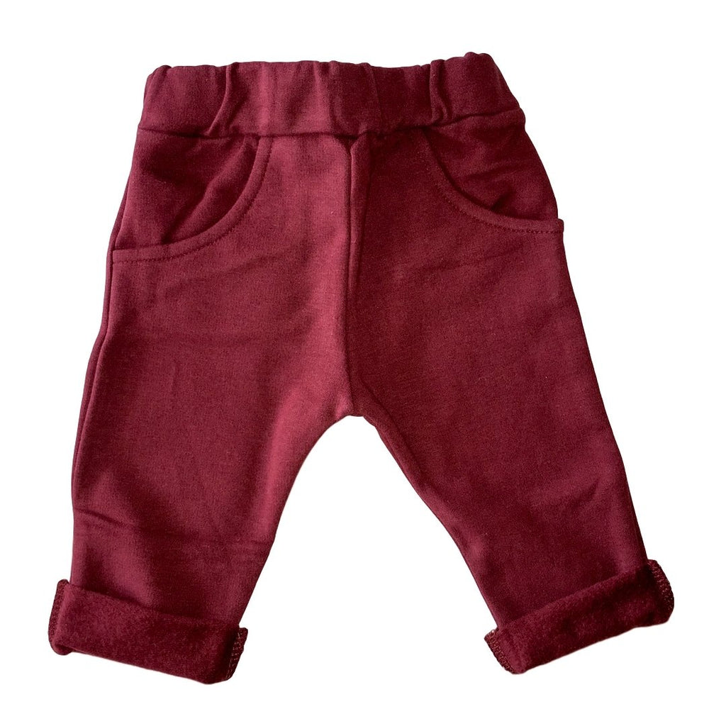 Baby bordeaux sweatpants in cotton fleece by il Guardarobino