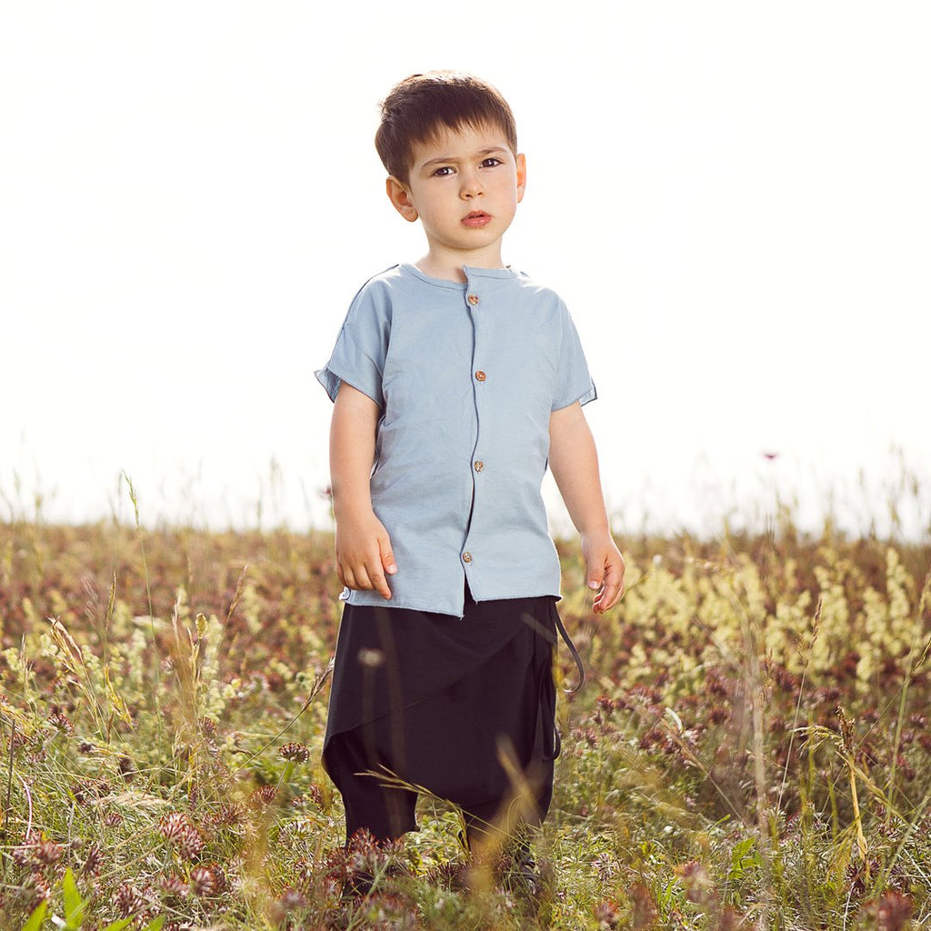 Boys Mid Blue T Shirt With Buttons