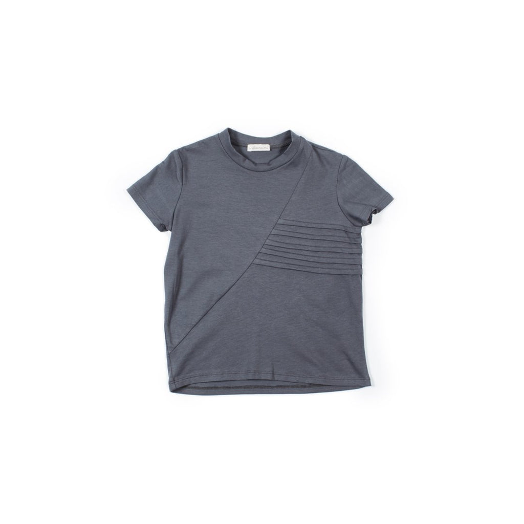 Dark gray boys t-shirt with embossed details on the front by I Leoncini
