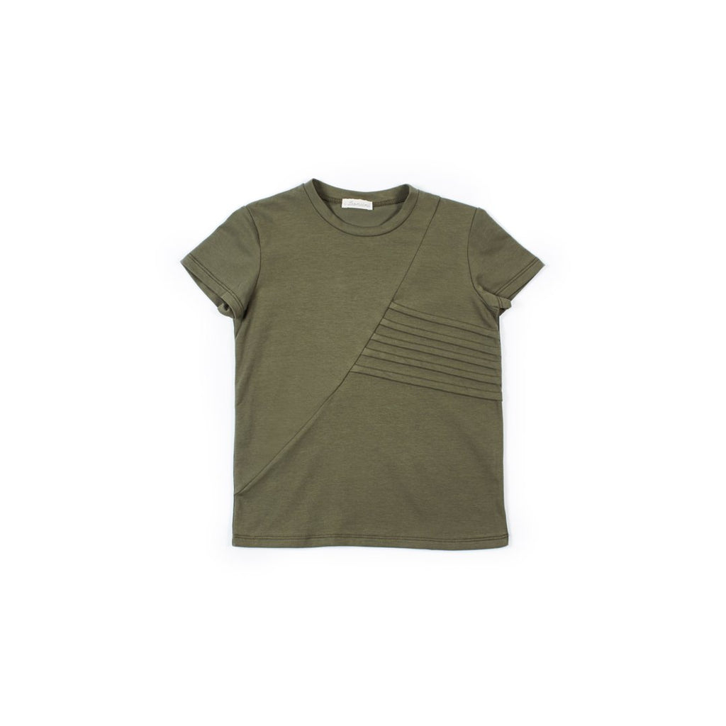 Boys t-shirt in army green with embossed details by I Leoncini