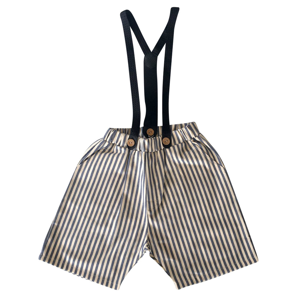 Pull-on shorts with removable suspenders in striped denim fabric by Chichirikids