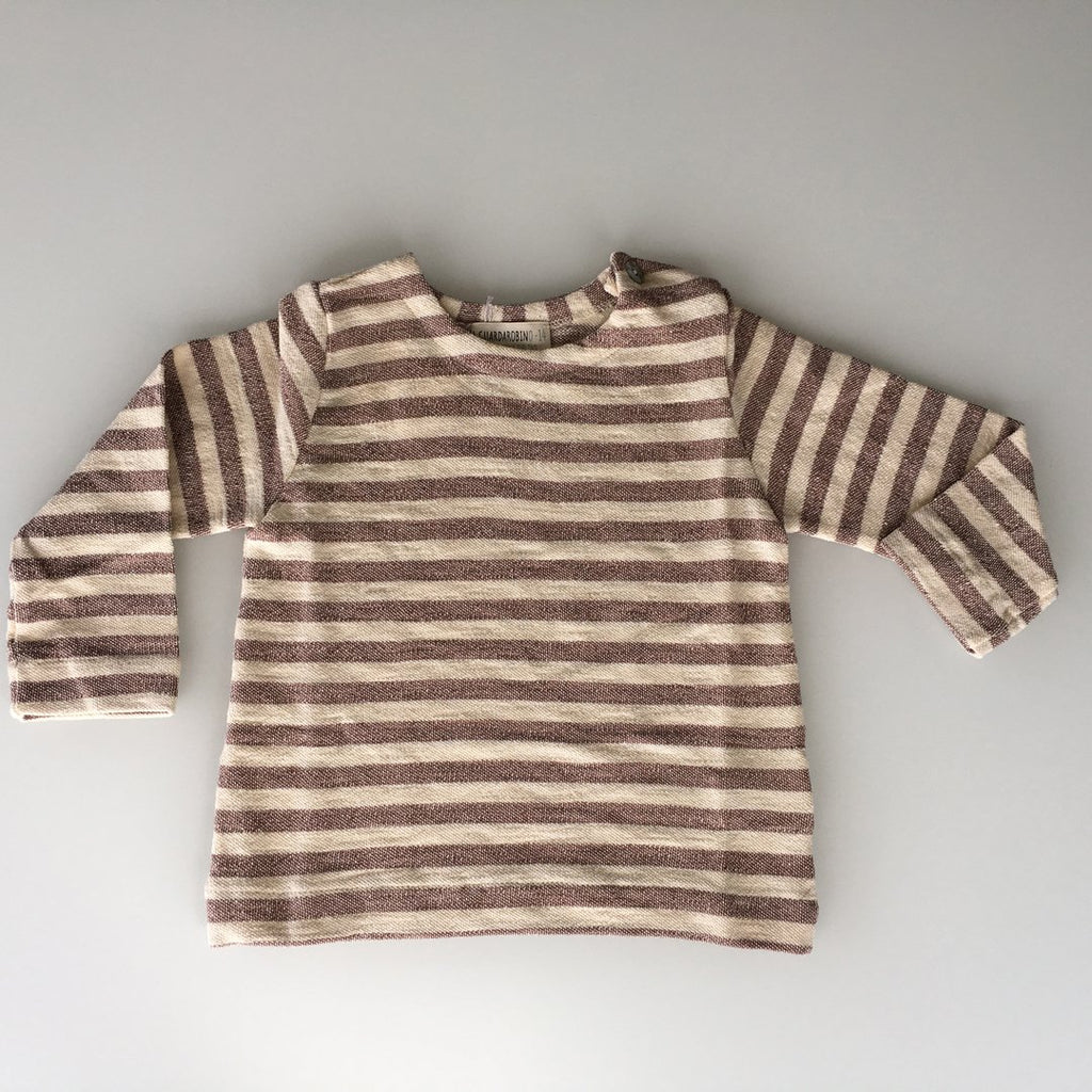 Long-sleeve boys t-shirt in winter cotton comes in soft and neutral colors by Il Guardarobino