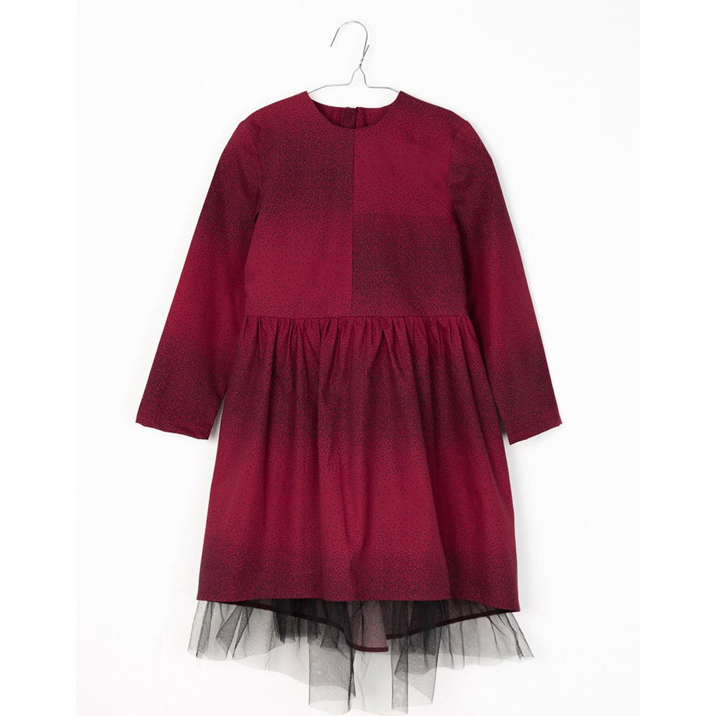 Long-sleeve girls dress in burgundy with black dots and black tulle in the lower layer by motoreta