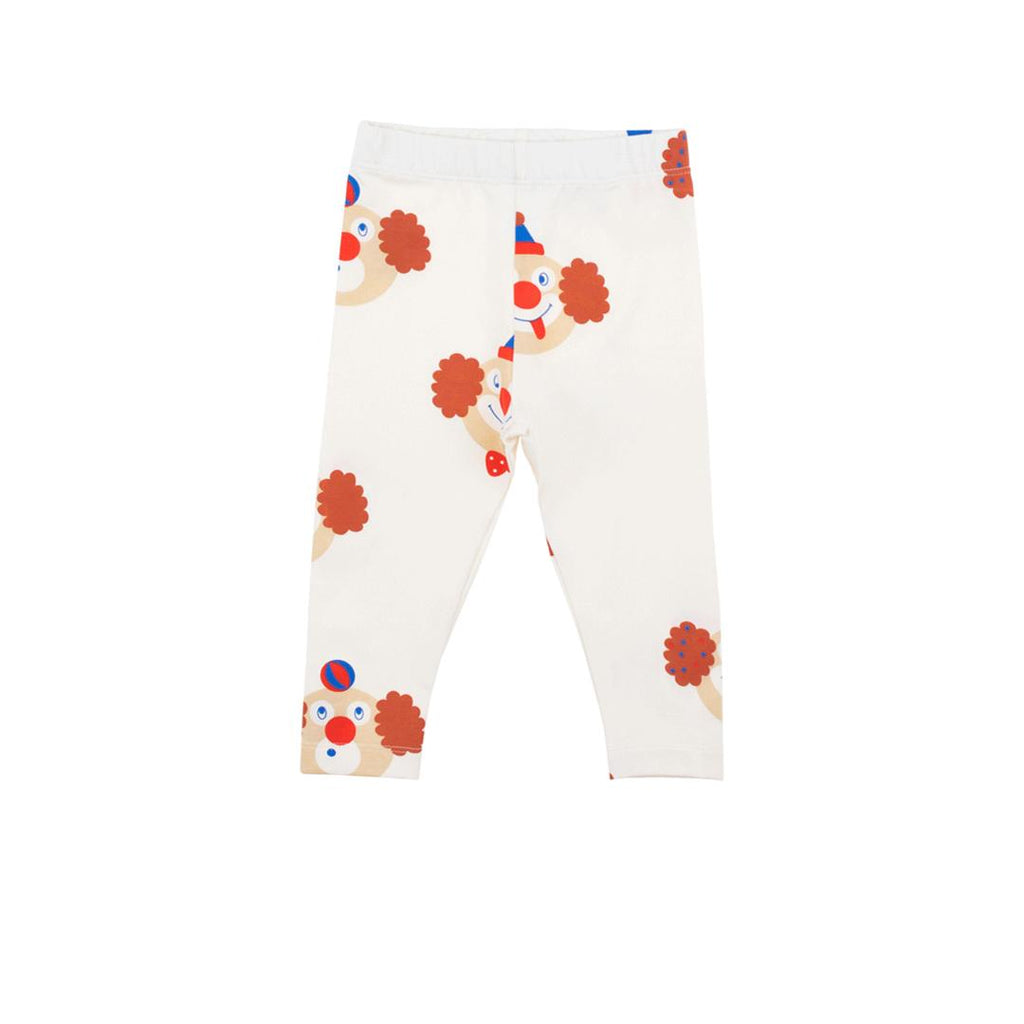 Unisex leggings in pima cotton for babies and toddlers with clown prints all over.