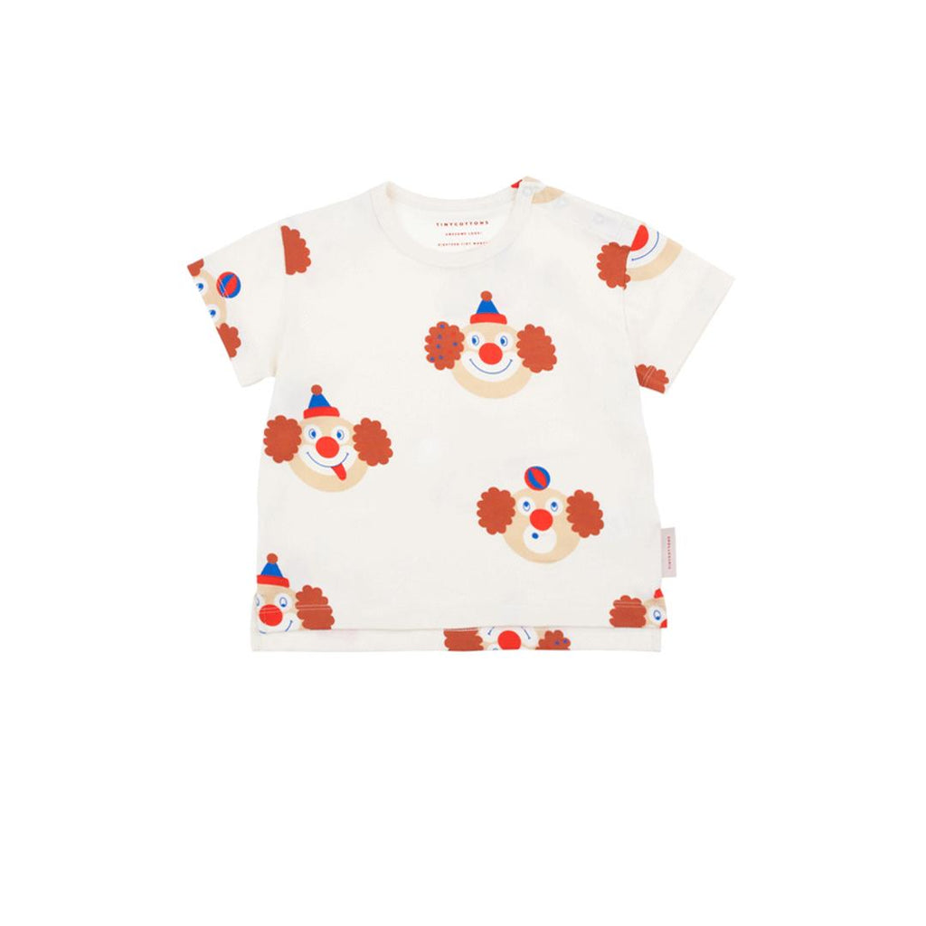 Short sleeve unisex t-shirt in pima cotton by tinycottons with  clown prints all over