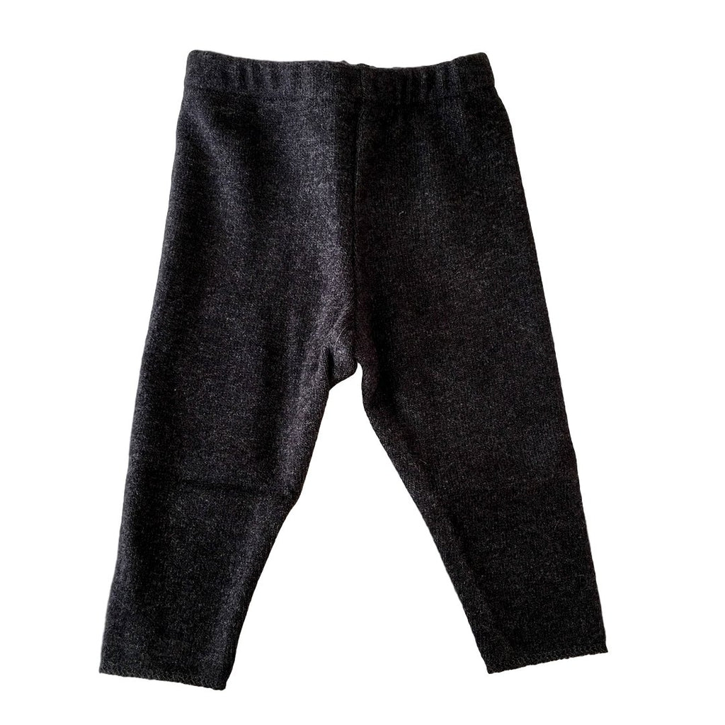 Warm, soft cotton knit leggings in coal by Il Guardarobino