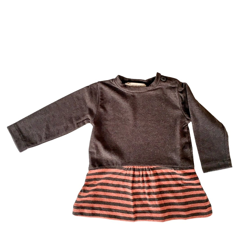 Baby and toddler long-sleeve dress in warm fleece cotton jersey with lower skirt in striped coal and rust by Il Guardarobino