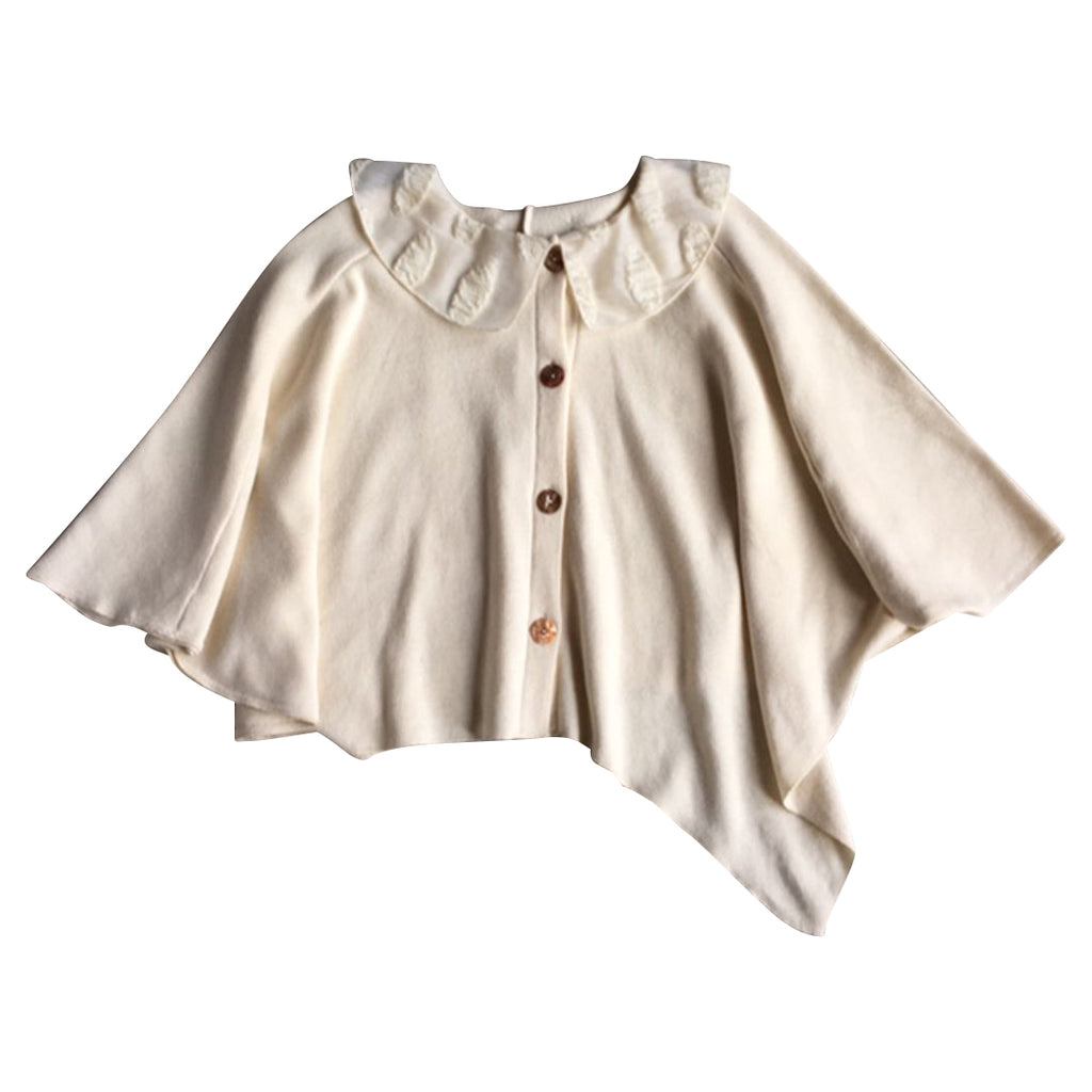 Luxury cloak in a nude color for girls with a tone on tone fancy collar and front buttons.