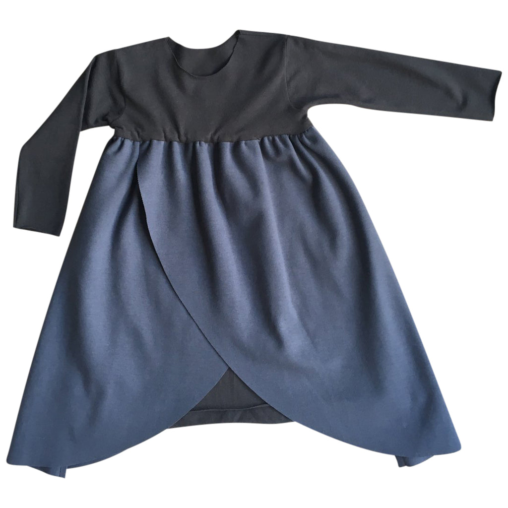 Casual yet unique  luxury long-sleeved layered dress in warm cotton features a beautiful dark denim cotton.