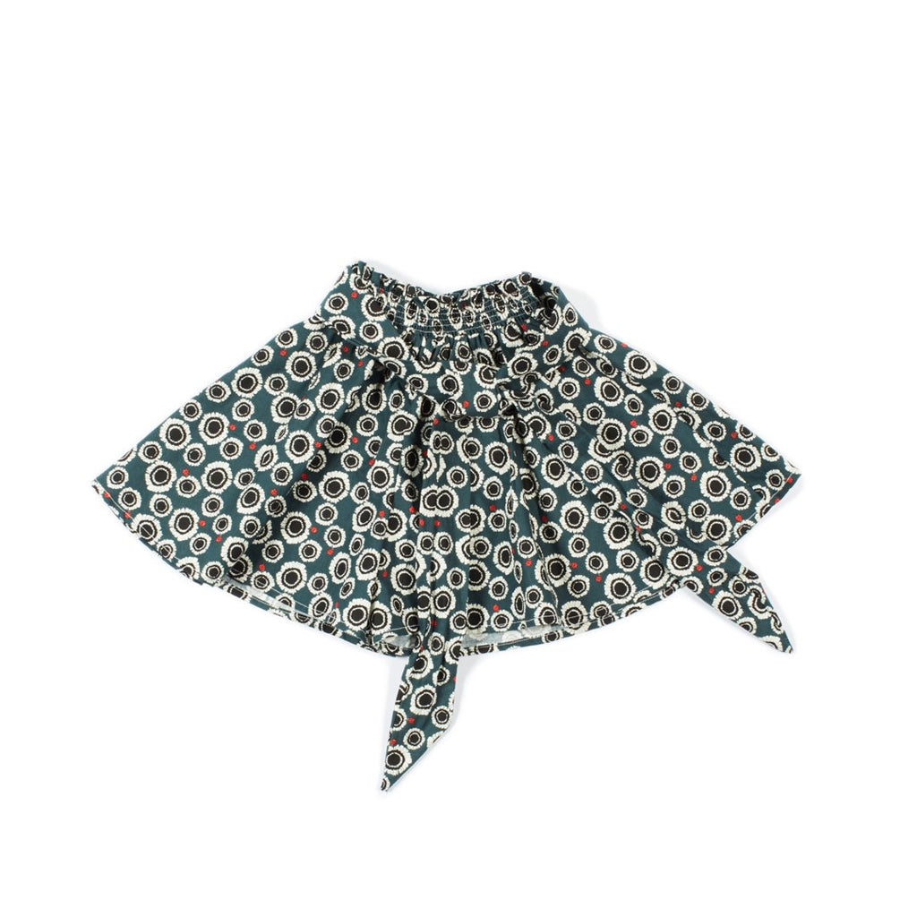 Wide swing short skirt for girls with a big bow embellishment on the front by I Leoncini