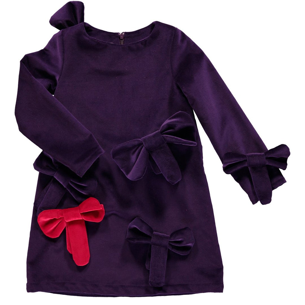 Beautiful deep purple dress in super trendy velvet, with cute large bow appliques all over by Nikolia