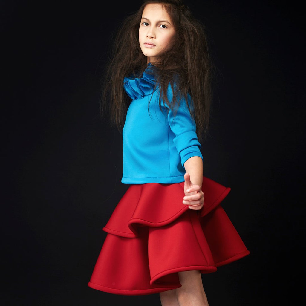 Outift of girl Structured two-layer skirt in beautiful ruby red color by Nikolia