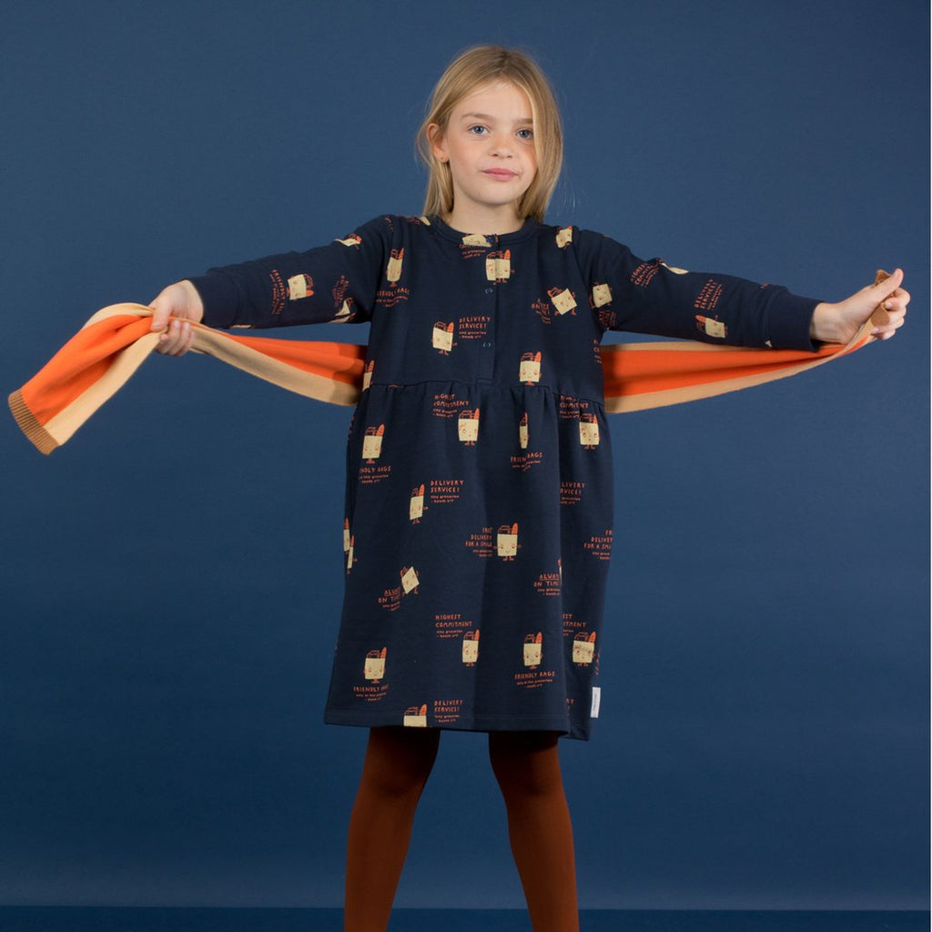 Girl wearing Friendly Bags Fleece Dress Navy Red