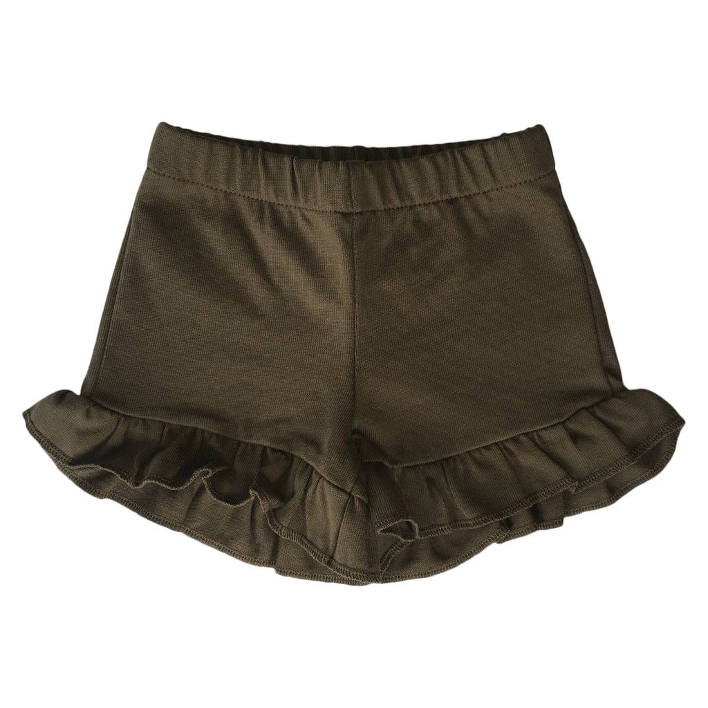 Shorts with ruffles on the bottm for girls in army green by Il Guardarobino