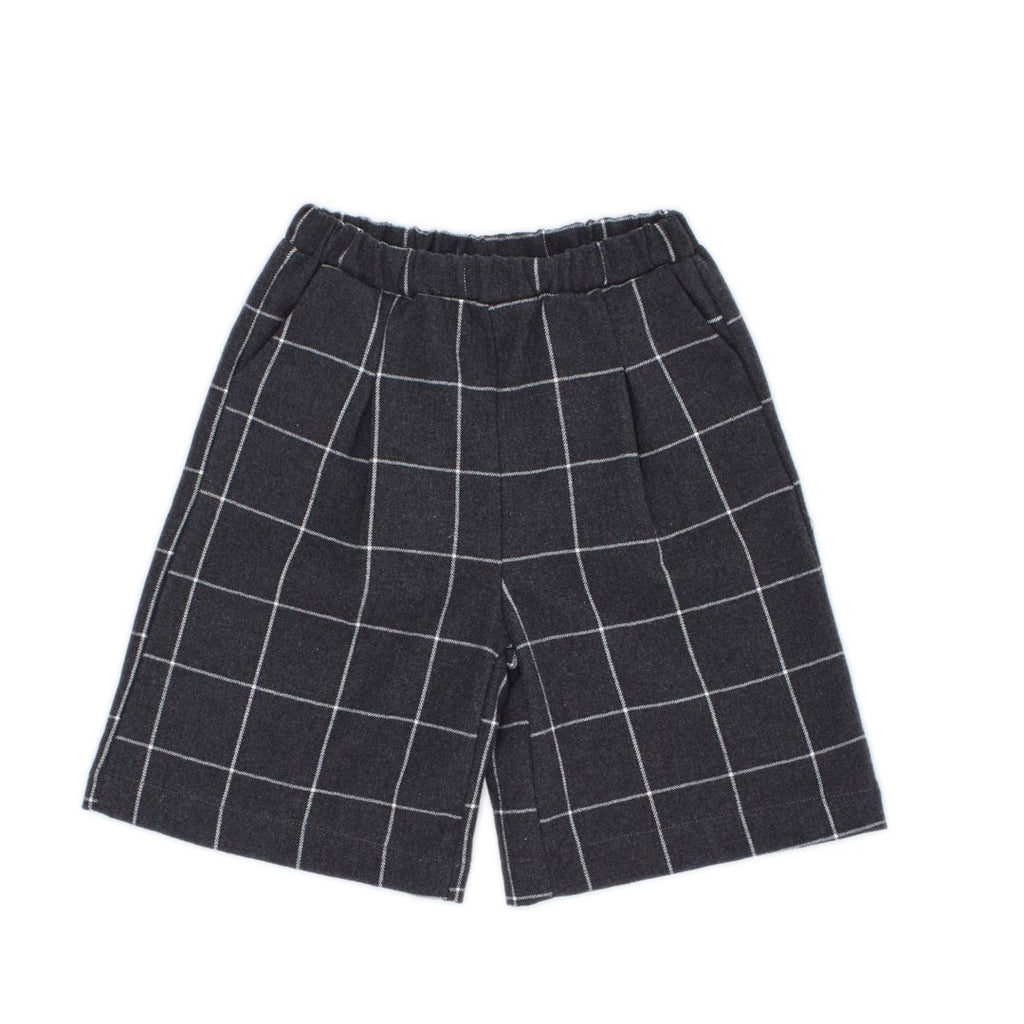 Oversized girls pants  in anthracite with big white checks by I Leoncini