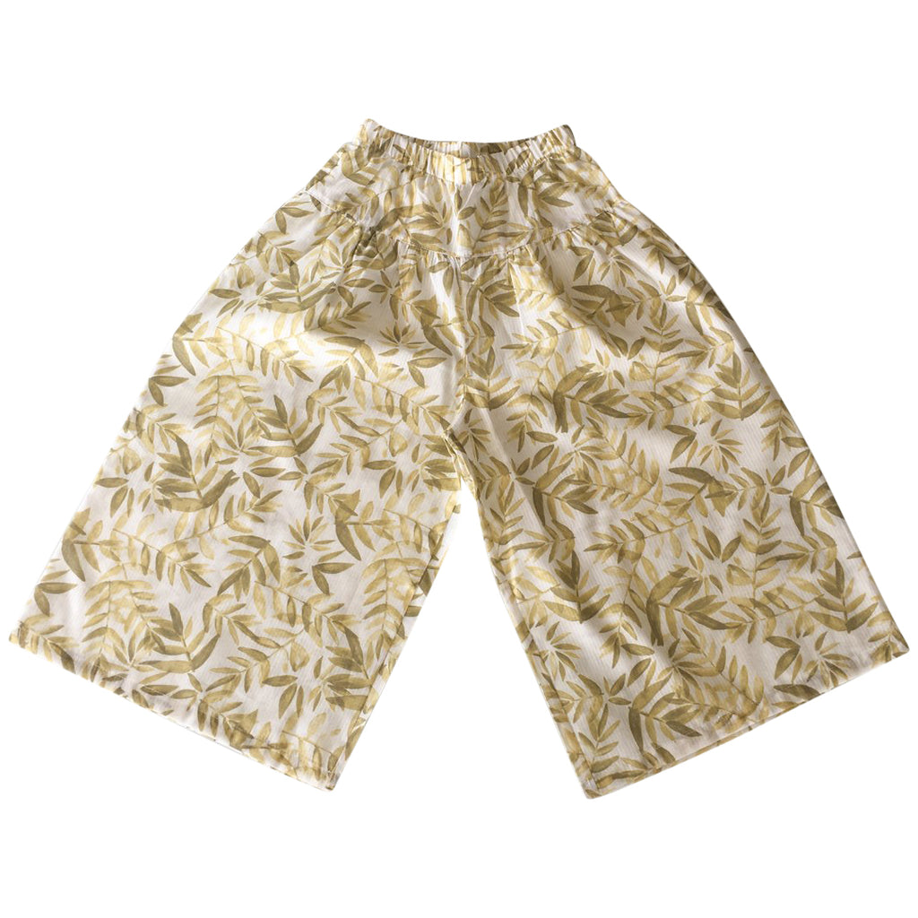 Wide-leg palazzo pants with embroidered golden leaves all over by Chichirikids