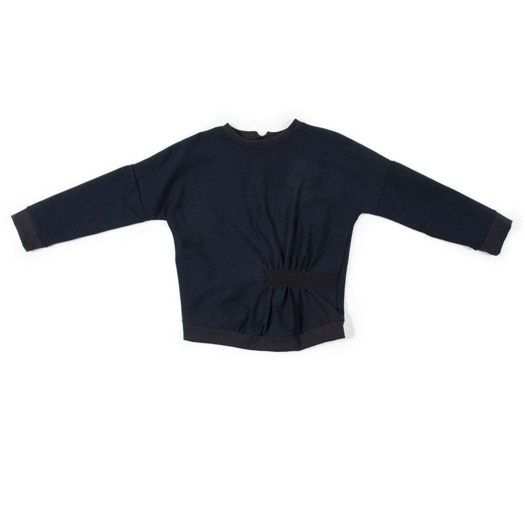Long-sleeve navy girls sweatshirt with a twist on the front waist by I Leoncini