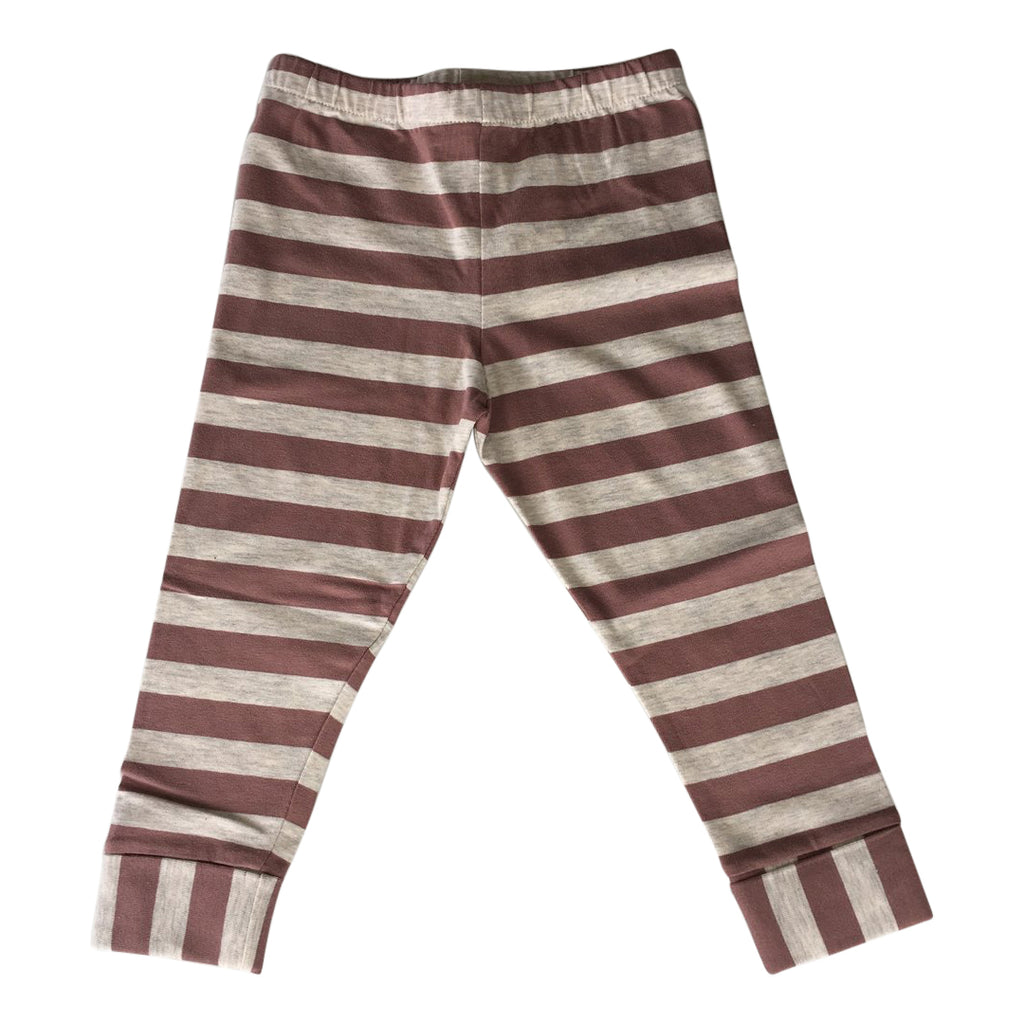 Leggings for girls in beige melange and dusty pink stripes by Il Guardarobino