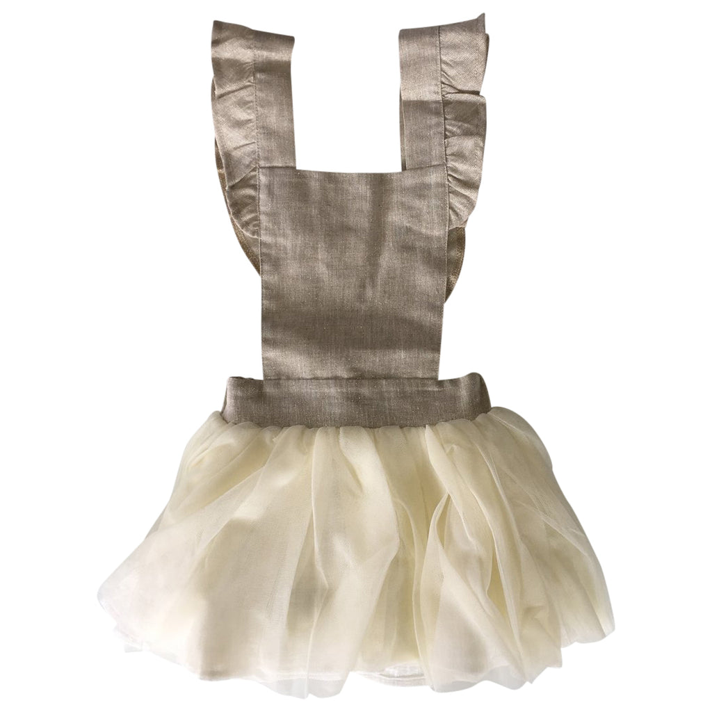 Suspender dress with a tutu skirt and  top embellished with gold woven palms by Chichirikids