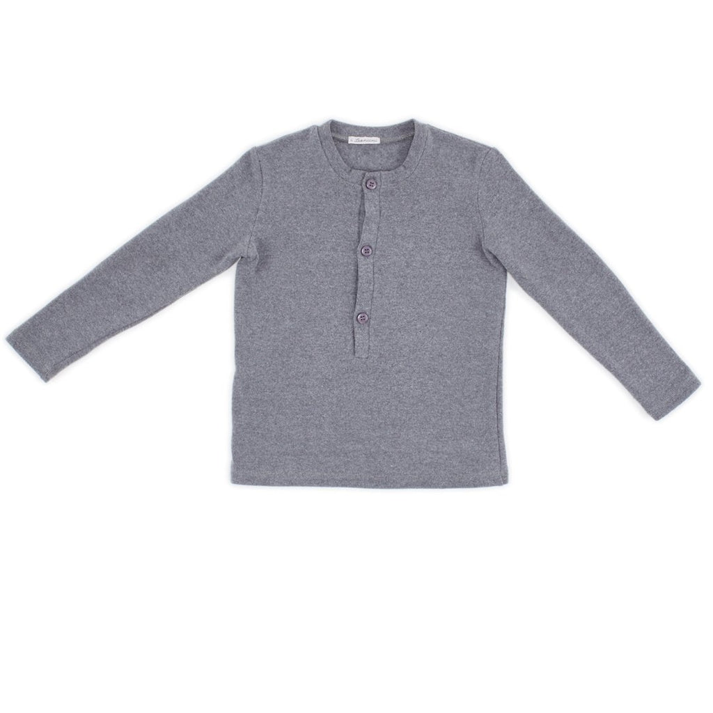 Boys long sleeve knit in an easy to match light gray color with front buttons by I Leoncini