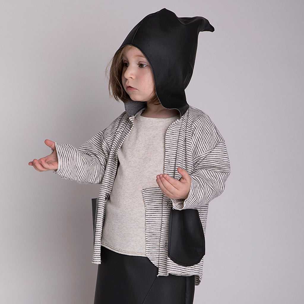 Toddler wearing sweater in cotton with hoodie and pockets in black leather effect by Gayalab