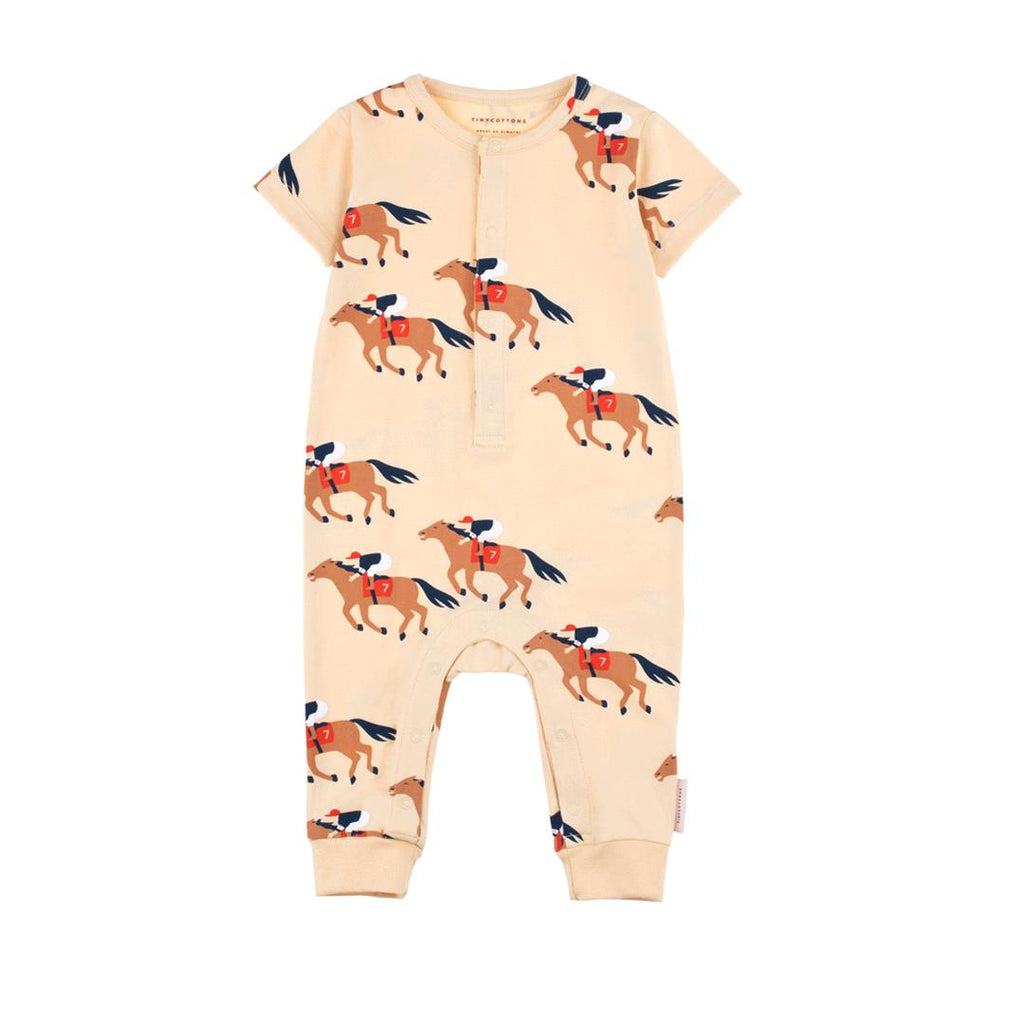 Baby summer one-piece with short-sleeved playsuit with horses run prints all-over