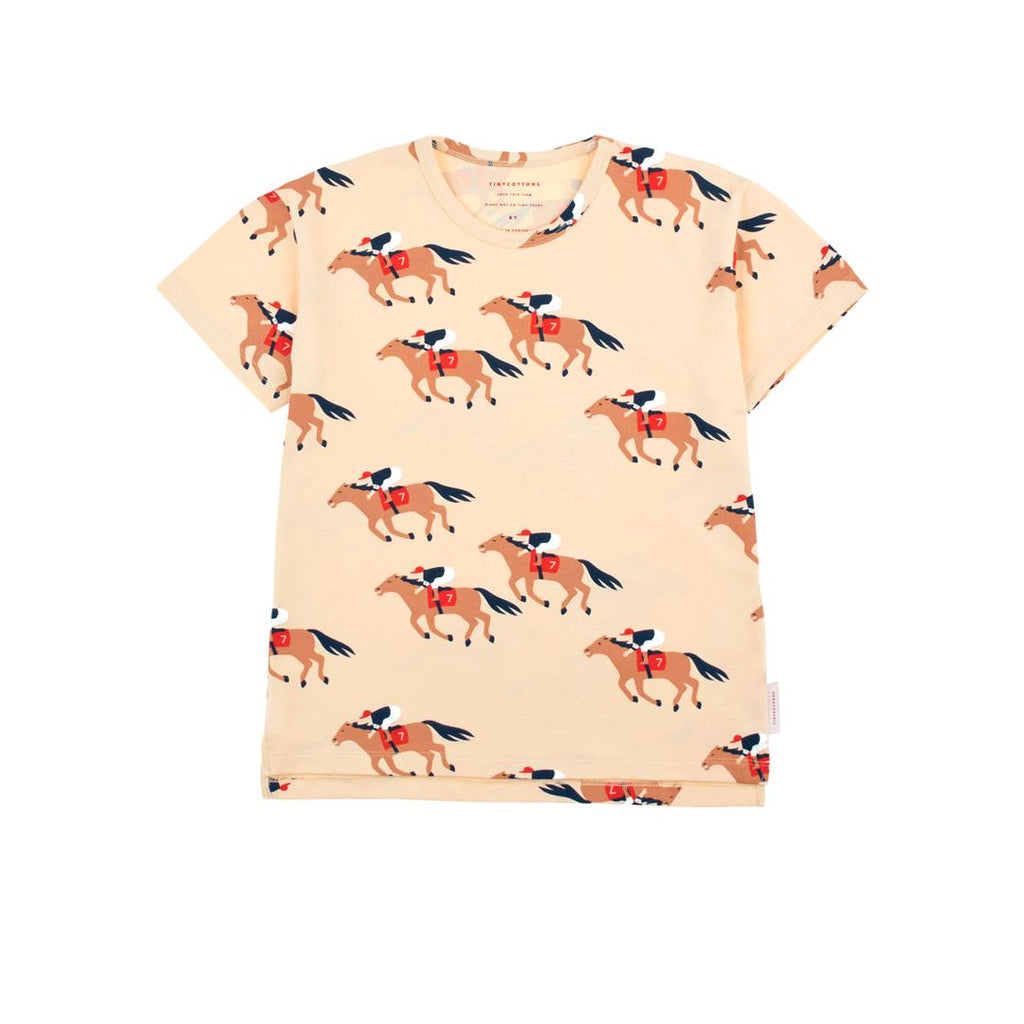 Short-sleeved t-shirt with round neckline in pima cotton with a cream base and horses run prints all-over