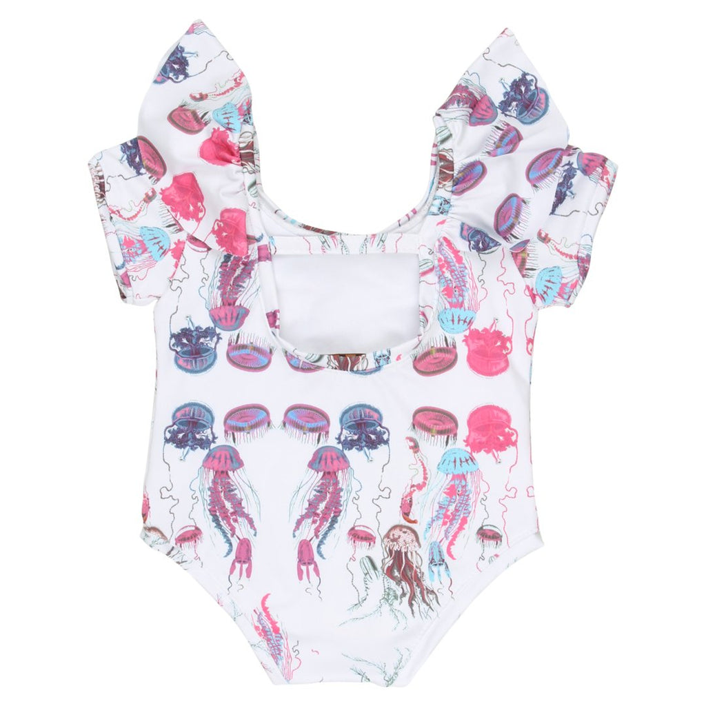 Back of one-piece bathing suit for girls, with sort sleeves and ruffles and jellyfish prints by EFVVA