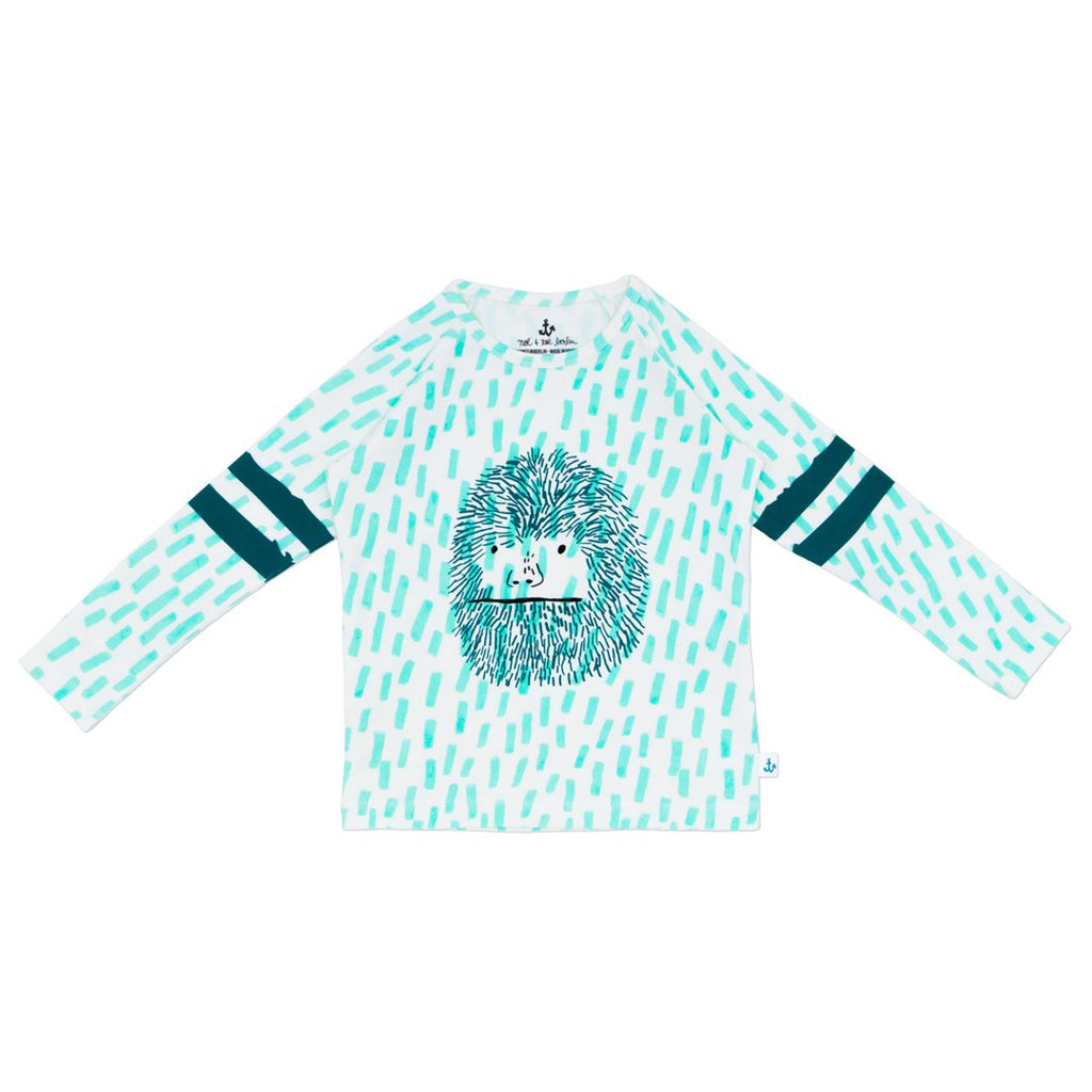 Kids raglan long-sleeve t-shirt by NoŽ & Zo' with white base and light blue and a cool yeti on the front