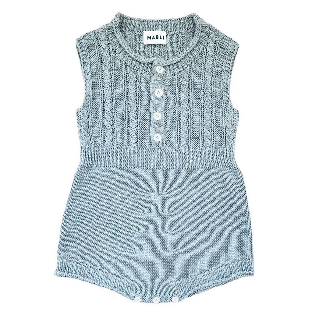 Unisex baby and toddler summer romper in mineral gray, made in extra soft knit pima cotton by Mabli